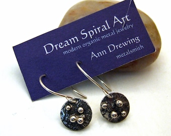 ORB BITS Earrings - Small Discs made from Recycled Sterling Silver - Dangly Wires with patina