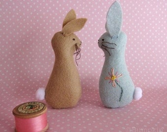 Blossom Bunnies - Felt Ornament Sewing Toy PDF Pattern with Hand Embroidery