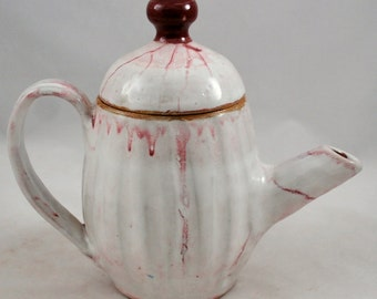Carved White and Burgundy Tea Pot, Stoneware Clay Free Shipping