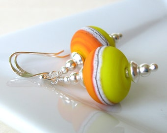 Summer Sun  Lampwork earrings in sterling silver