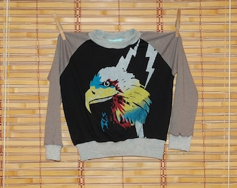 Recycled Eagle Tshirt - handmade, boy, girl, repurposed, black, gray