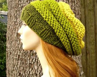 Knit Hat Green Womens Hat - Oversized Beehive Beret Hat in Ombre Green - Olive Lemongrass Citron Knit Hat - Green Beret Womens Accessories
