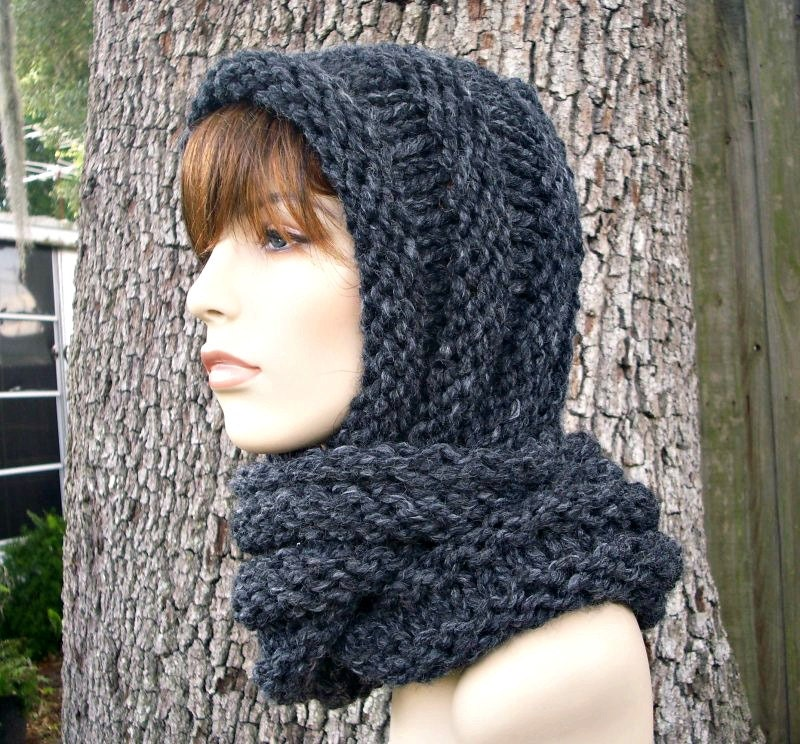Knitting Pattern For Ladies Hood : Knit Hat Grey Womens Hat Hooded Scarf Hat Gretel Wrap Hood