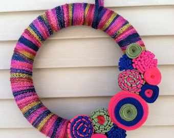 Spring Wreath - Multi-Color Spring Yarn Wreath w/ Felt Flowers. Yarn Wreath - Easter Wreath - Spring Decoration - Felt Flower Wreath