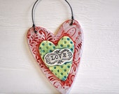 Folk Art Wall Heart- Valentine Wall Hanging- Heart Plaque in lilac, red, lime green and blue- LOVE