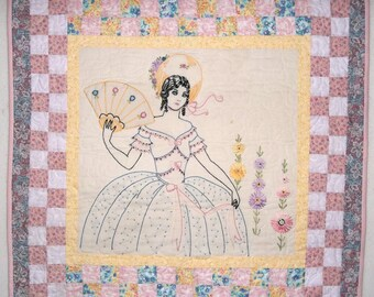 Southern Belle, Vintage Embroidery, Patchwork Wallhanging