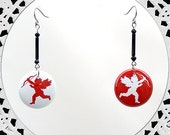 Cute Little Cupids Button Pierced Dangle Beaded Earrings- Red, White or Black