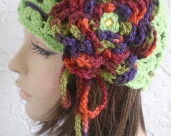 hand crochet cloche hat beanie ~ scallop hat ~ lime green