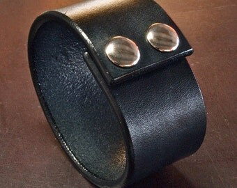 Leather cuff bracelet Black Bridle Custom made for YOU Leather wristband in NYC by Freddie Matara