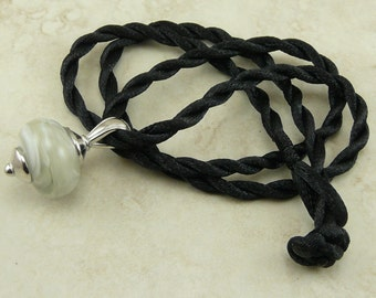 "Misty Gray Fog Lampwork Bead Focal Pendant Necklace > 18"" Satin Cord - Gray Grey White Mist"