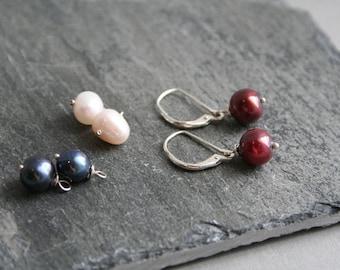 Freshwater Pearl Sterlling Silver Earrings, Red, Blue, White Interchangeable Earrings