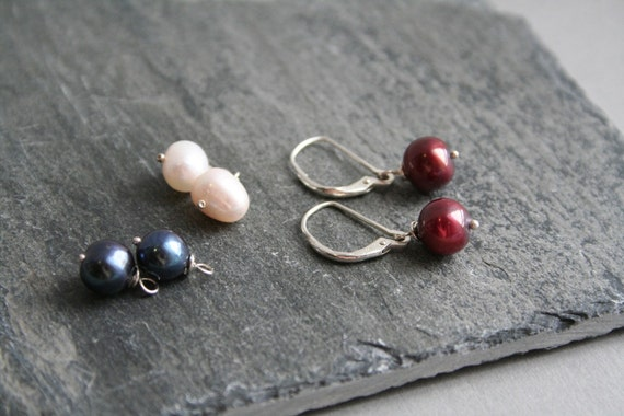 Freshwater Pearl Sterlling Silver Earrings, Red, Blue, White Interchangeable Earrings