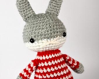 amigurumi rabbit toy, grey bunny rabbit, boys plush plushie stuffed animal .. little darwin