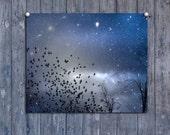 celestial, constellation, Starry night, deep blue sky, flock of birds, surreal, nature, metallic print, space art - Star Dust