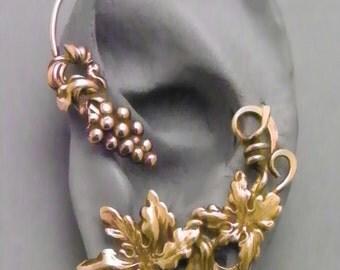 Grape and Vine Golden Ear Wrap -   BACCHUS   -  Brass Ear Cuff Wrap