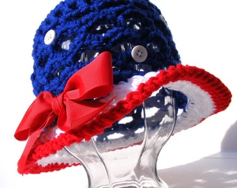 Crochet Hat P attern Pack Patriotic or Watermelon Sun Hat - Tute 4 Pull Tie Bow - No. 53