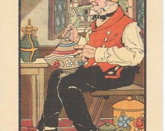 Vintage French Postcard Alsacien potter 1918 full color