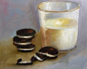 Milk and Cookies, An Orginial OIl Painting