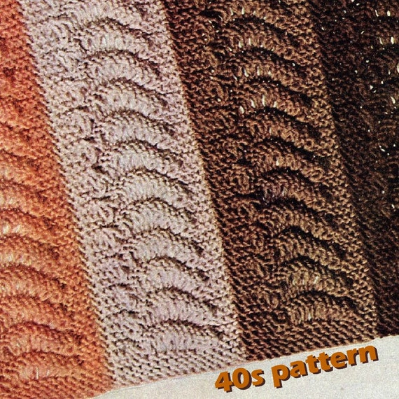 Knitting Pattern Vtg 40s Afghan Pattern Knit In Strips