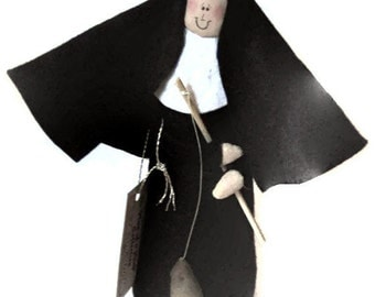 Nun doll Catholic gift Fishing nun doll 'Sister Holy Mackerel""