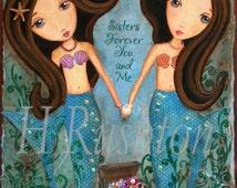 Mermaid  Art -Children Decor- Sisters Art- Mermaid Decor- Underwater Sister Mermaids brunettes-Print Size 8x10 Print