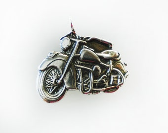 Indian Motorcycle Necklace Pendant in Sterling Silver