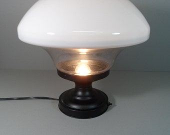 Old School Light Fixture wired as a Table lamp Mushroom Globe