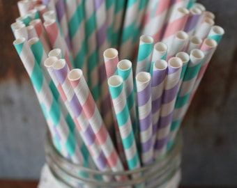 Princess Party Straws - Paper Drinking Staws - set of 30 - pink, lavender, aqua