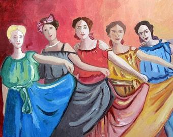 Original Art Acrylic on Wooden Panel Board Dancing Ladies