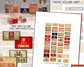 Miniature Dollhouse Prop Poison Labels digital collage sheet for doll props accessories BJD printable prop 1/3 scale play scale poisons