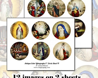 """Antique Religious Holy Images 3"""" circle digital collage sheet SET 75 76 mm round for crafts like badge button pinback coasters"""