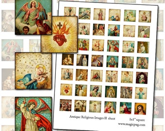 Religious Art inchies sheet  II  1x1 square digital collage sheet for jewelry pendants necklaces etc very christmas time angel