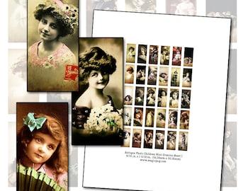 Antique Children Postcard mini domino digital collage sheet printable kid kids baby 9/16 in x 1 3/16 photograph sepia