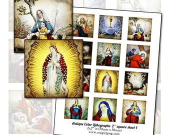 "Antique Religious Catholic Lithographs I 2"" square digital collage sheet 50mm 50.8 mm coaster or badge"