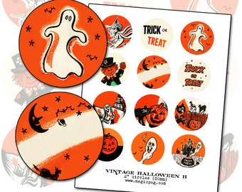 Vintage Halloween Graphics II digital collage sheet 2 inch circle two 50mm for badge pinback button black orange cat witch jack o'lantern