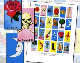 """Mexican Loteria domino digital collage sheet 1x2"""" 25mm x 50mm parrot boot scorpion rose canteloupe devil yellow red blue mermaid tree shrimp"""