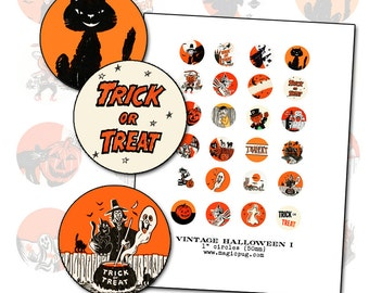 Vintage Halloween Graphics digital collage sheet 1 inch circle one 25 mm for badge pinback button black orange cat witch jack o'lantern