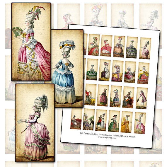 Marie Antoinette era 1700's French Revolution fashion plates domino digital collage sheet 1x2 inch 25mm x 50mm gown bows powdered wig