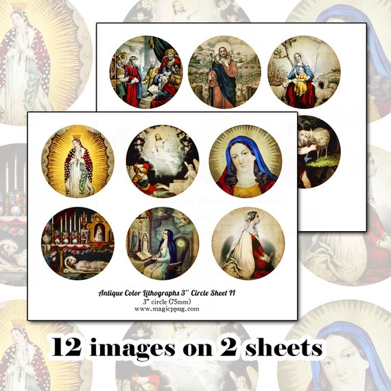 "Antique Religious Holy Images 3"" circle digital collage sheet SET 75 76 mm round for crafts like badge button pinback coasters"