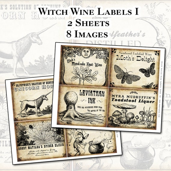 Witch Wine Labels 4x5 digital collage sheet set for potions Halloween dinner parties party decorations postcard mail art wine bottle label