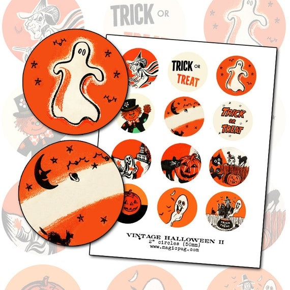 Vintage Halloween Graphics II digital collage sheet 2 inch circle two 50mm for badge pinback button black orange cat witch jack o'lantern