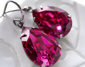 Magenta Crystal Teardrop Earrings, Fuchsia Swarovski Crystal, Hot Pink Crystal with Antiqued Silver, Bridesmaid Earrings, Bridesmaid Jewelry