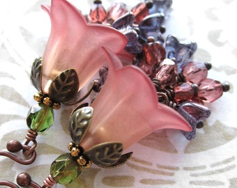Peach Sangria Flower Earrings - Peach, Soft Red, Purple, Salmon Pink Ombre Flowers, Garden Wedding Bridesmaid Jewelry, Nature Jewelry