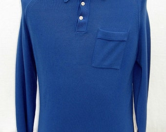 Vintage 60s/70s Men's Blue Banlon Polo Muscle Shirt Sz L