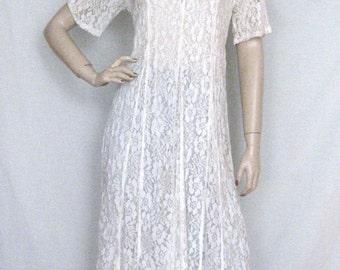 Vintage  White Sheer LACE gypsy boho maxi Dress Sz S / M