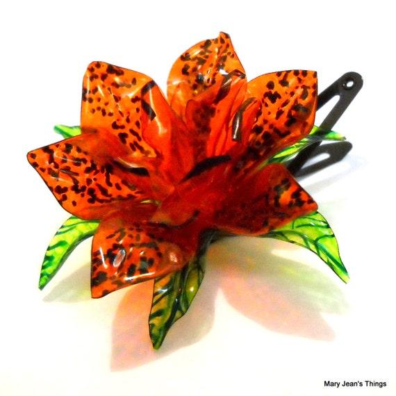 Water Bottle Flowers: Items Similar To Upcycled Orange Fantasy Flower HAIR CLIP
