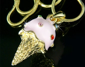 Swarovski Crystal 3D Pink Strawberry Ice Cream Cone Girls Party Shower Charm Pendant Gold Plated Chain Necklace Girls Jewelry Gift New