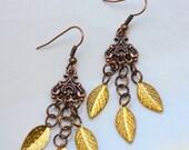 Handmade Leaves and Brass Dangling Earrings