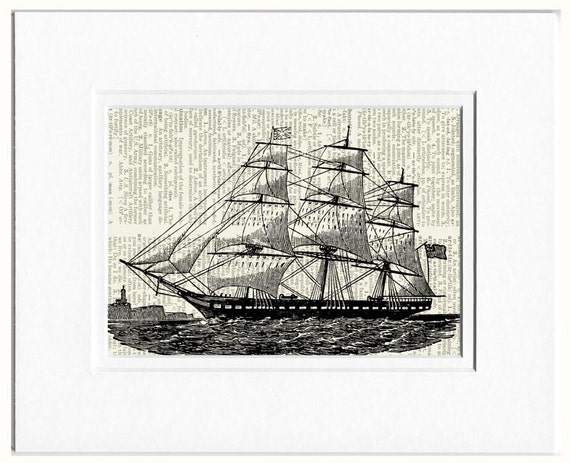 Sailing Ship V dictionary page print