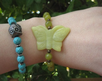 Stone Bracelet - Large Butterfly - Grass - Green - Spring - I Love Green Collection - Brass - Adjustable - Summer - Ontario Canada